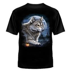 "Футболка подросток №915 ""Волк и костёр """